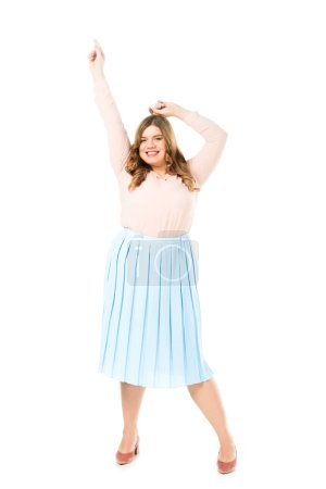 Photo for Happy smiling elegant overweight woman posing with hands in air isolated on white - Royalty Free Image