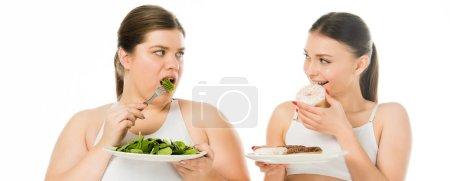 Photo pour Femme mince manger des beignes et en regardant une femme en surpoids mangeant des feuilles d'épinard vert isolés sur blanc - image libre de droit