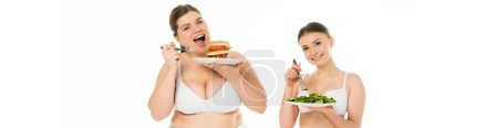overweight smiling woman in underwear eating burger from plate while slim happy woman eating green spinach leaves isolated on white