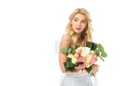 Photo for Beautiful bride holding nice wedding bouquet isolated on white - Royalty Free Image