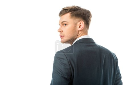 Photo for Serious handsome brunette in black jacket isolated on white - Royalty Free Image
