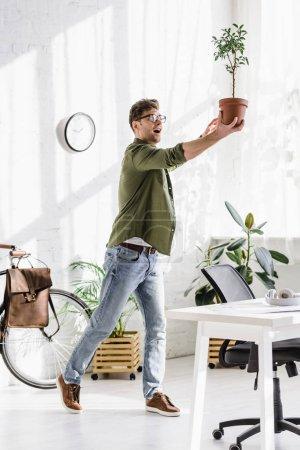 Photo pour Homme rusé en chemise verte et jeans tenant pot avec plante dans le bureau - image libre de droit