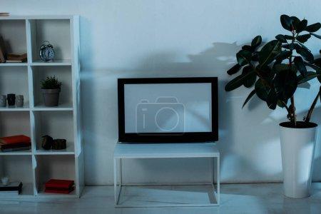 Foto de Armario, plantas verdes y tv de pantalla plana con pantalla en blanco en la habitación - Imagen libre de derechos