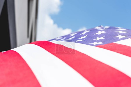 Photo for Low angle view of stars and stripes on national flag of america - Royalty Free Image