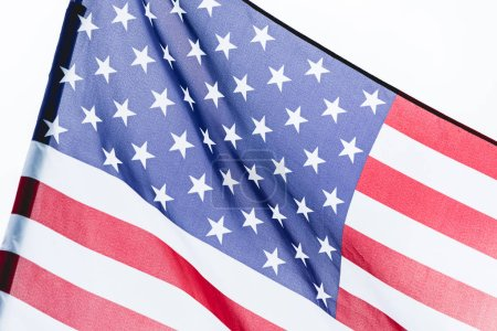 close up of national usa flag with stars and stripes isolated on white