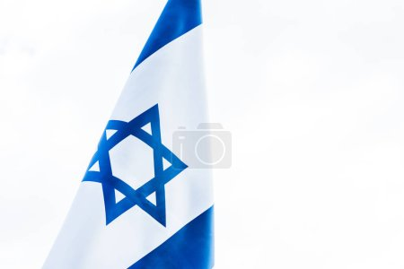 national flag of israel with star of david isolated on white
