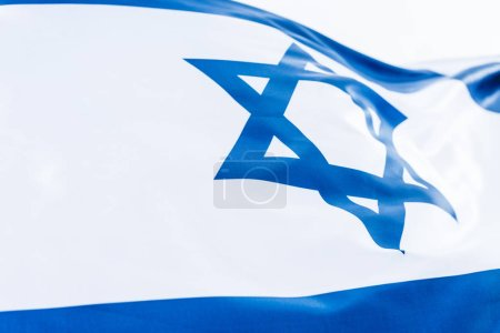 national israel flag with star of david isolated on white