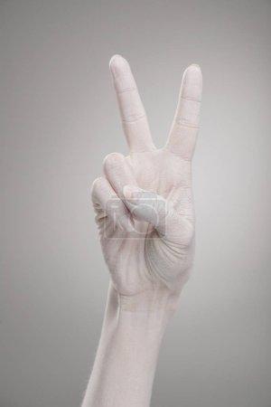 Photo pour Vue recadrée des mains féminines peintes en blanc montrant signe de paix sur le gris - image libre de droit