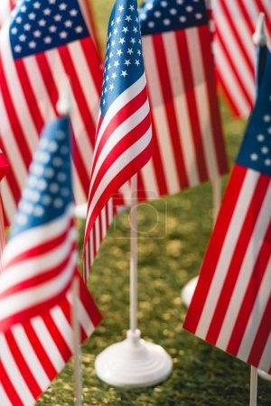 Photo pour Focus sélectif des drapeaux américains avec des étoiles et des rayures sur l'herbe - image libre de droit