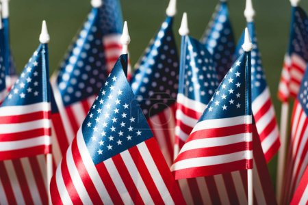 selective focus of stars and stripes on american flags