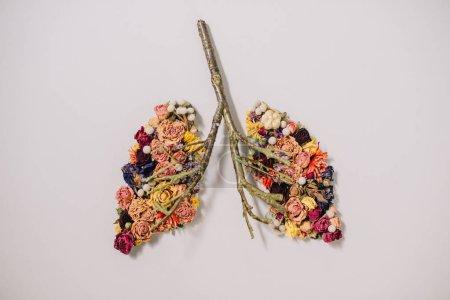 Photo pour Vue de dessus de la composition florale avec des fleurs séchées et des brindilles en forme de poumons sur gris - image libre de droit