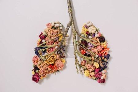 Photo pour Vue de dessus de la composition florale avec des fleurs et des brindilles en forme de poumons sur gris - image libre de droit