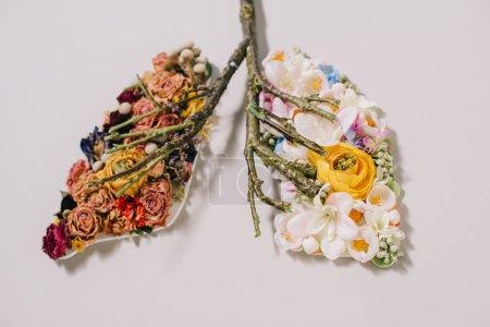 Photo pour Composition florale avec des fleurs séchées et fleuries près de brindilles en forme de poumons sur gris - image libre de droit
