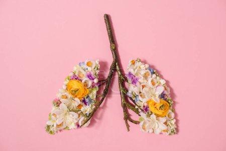 Photo pour Vue de dessus de la composition florale avec des fleurs en fleurs et des brindilles en forme de poumons sur rose - image libre de droit
