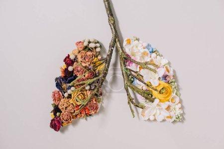 Photo pour Vue de dessus de la composition florale avec des fleurs séchées et florissantes près de brindilles en forme de poumons sur gris - image libre de droit