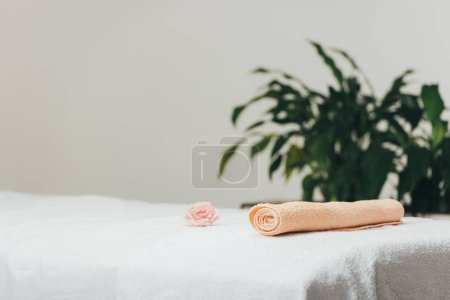 Photo for Selective focus of massage table with rose and beige towel in spa - Royalty Free Image