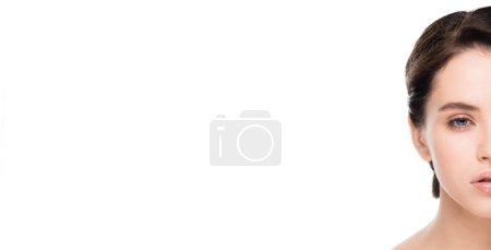 Photo pour Photo panoramique de la belle jeune femme isolée sur le blanc - image libre de droit