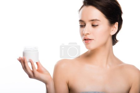 Photo for Pretty brunette woman holding container with cosmetic cream isolated on white - Royalty Free Image