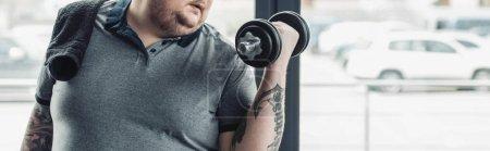 Photo pour Prise de vue panoramique de l'homme tatoué en surpoids s'entraînant avec haltère à la salle de gym avec espace de copie - image libre de droit