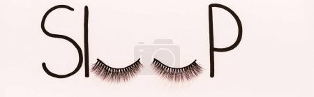 Photo for Panoramic shot of word sleep made with fake eyelashes isolated on beige - Royalty Free Image