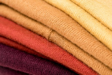 Photo for Close up view of stack of folded colorful clothes - Royalty Free Image