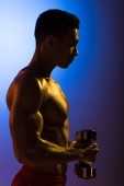 "Постер, картина, фотообои ""side view of athletic mixed race man with dumbbells on blue and dark purple gradient background"""