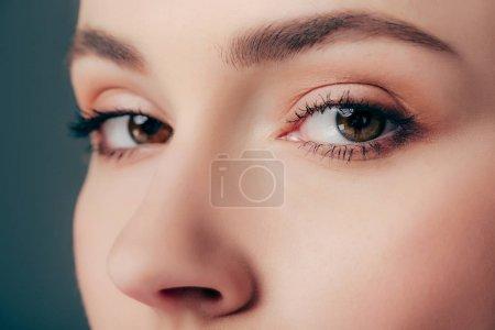 Photo pour Vue rapprochée de la femme regardant la caméra isolée sur gris - image libre de droit