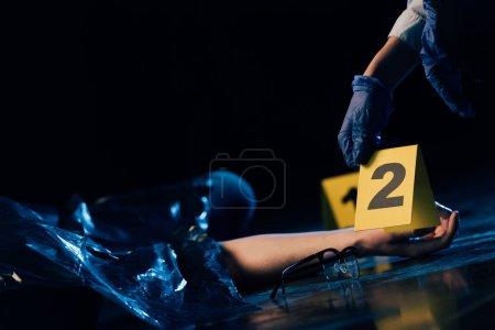 Photo pour Vue partielle du corps couvert et de l'enquêteur avec marqueur de preuves sur les lieux du crime - image libre de droit