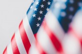 "Постер, картина, фотообои ""selective focus of united states of america national flags isolated on grey, memorial day concept"""