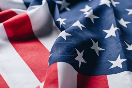 Photo pour Plié drapeau national de pays des Etats-Unis, concept de jour commémoratif - image libre de droit