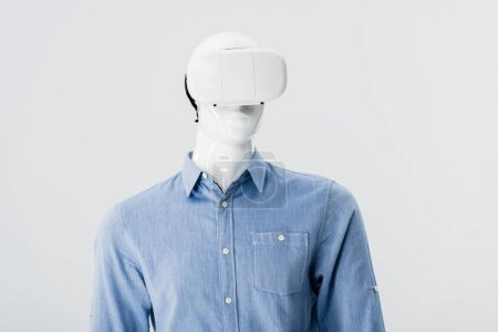Photo for Mannequin in clothes with Virtual reality headset isolated on grey - Royalty Free Image