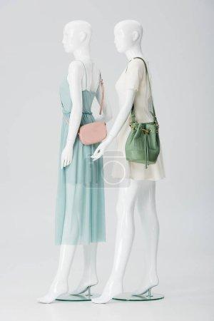 Photo pour Mannequins avec des sacs et des robes isolés sur le gris - image libre de droit
