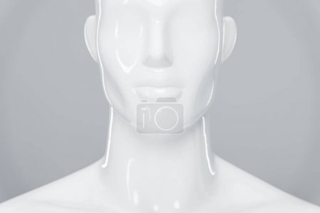 Photo for White plastic mannequin figure isolated on grey - Royalty Free Image
