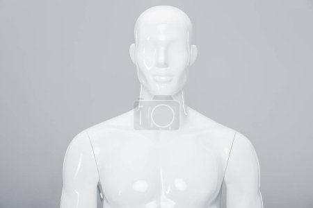 Photo for White plastic mannequin doll isolated on grey - Royalty Free Image