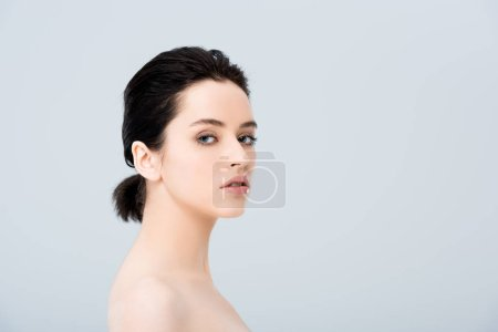 Photo for Beautiful nude young woman looking at camera isolated on grey with copy space - Royalty Free Image
