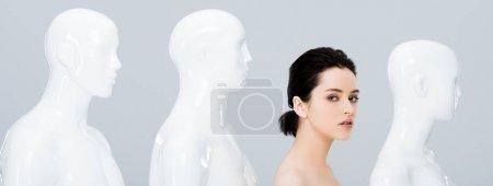 Foto de Foto panorámica de hermosa chica posando en fila de maniquíes y mirando la cámara aislada en gris - Imagen libre de derechos
