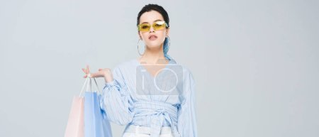 Photo for Panoramic shot of beautiful stylish girl with shopping bags looking at camera isolated on grey - Royalty Free Image