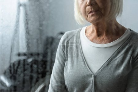 Photo for Partial view of sad senior woman with grey hair - Royalty Free Image