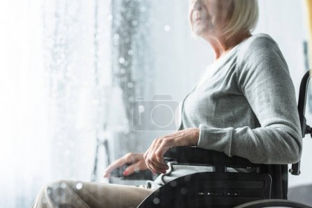 Photo for Cropped view of disabled senior woman on wheelchair - Royalty Free Image