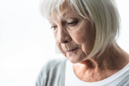 Photo for Cropped view of pensive senior woman at home - Royalty Free Image