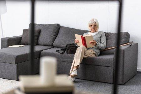 Foto de Senior woman in glasses sitting on sofa and reading book in living room - Imagen libre de derechos