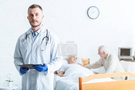 Photo for Doctor holding clipboard, sick patient and senior man in clinic - Royalty Free Image