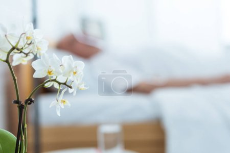 Foto de Selective focus of sick patient in clinic and orchids on foreground - Imagen libre de derechos
