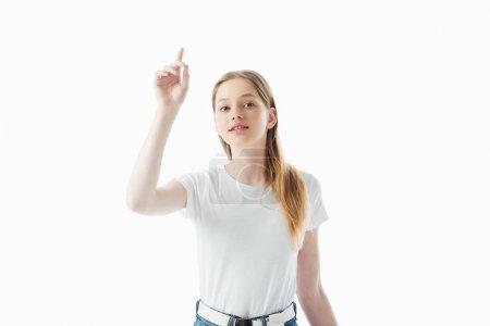 Teenager Mädchen mit erhobener Hand isoliert auf weiß