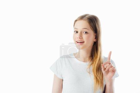 Photo pour Heureux adolescent fille montrant idée geste et regarder caméra isolé sur blanc - image libre de droit