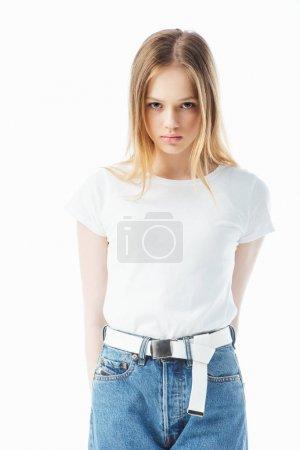 Photo pour Bouleversé et offensé adolescent fille regarder caméra isolé sur blanc - image libre de droit
