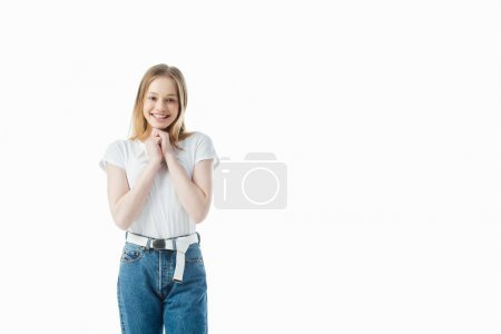 Photo for Happy and excited teenage girl looking at camera isolated on white - Royalty Free Image