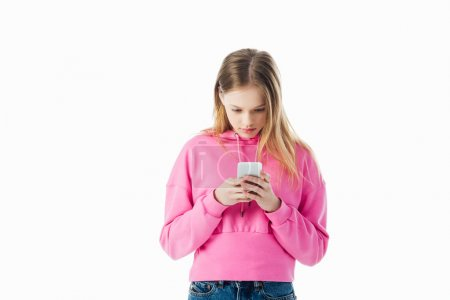 Photo for Teenage girl in pink hoodie using smartphone isolated on white with copy space - Royalty Free Image