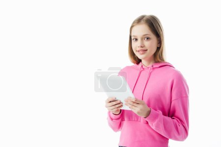 Photo for Cheerful teenage girl holding digital tablet isolated on white - Royalty Free Image