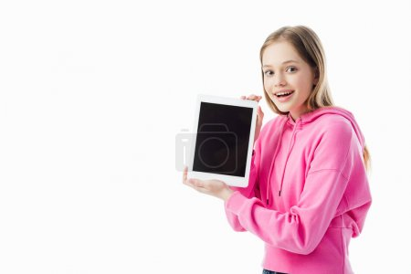 Photo for Happy teenage girl holding digital tablet with blank screen isolated on white - Royalty Free Image